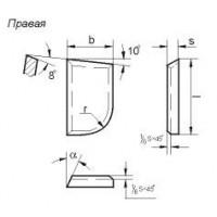 Пластина 07370 Т5К10 правая (12х8х3х5) (для подрезных, проходных, револьверных резцов)